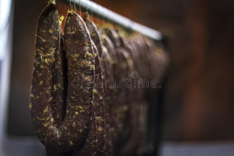 Homemade meat product. Traditional meat production in Southeastern Europe stock image