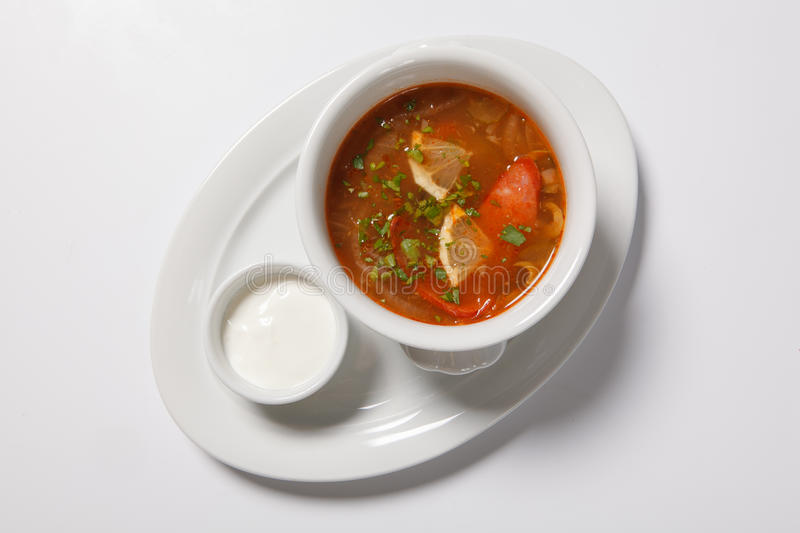 Homemade meat soup, Solyanka or saltwort. stock photography