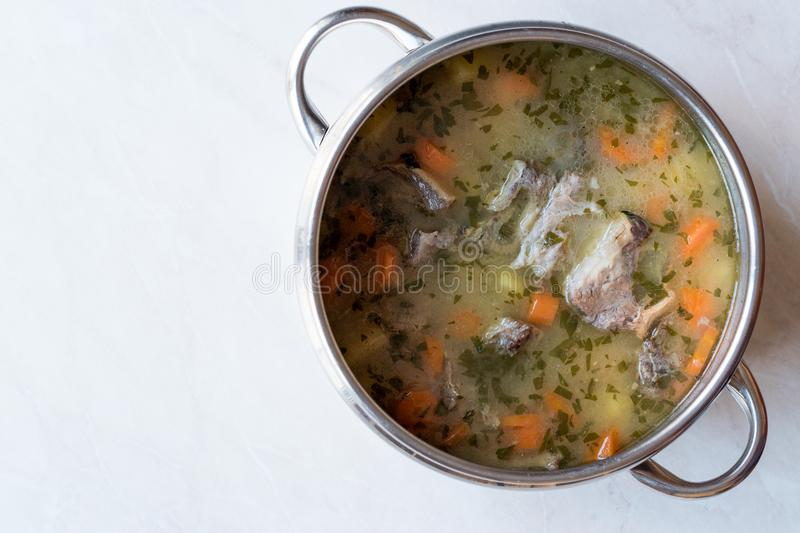 Homemade Meat Stew Beef Rip Soup with Vegetables in Pan. Traditional Organic food stock photo