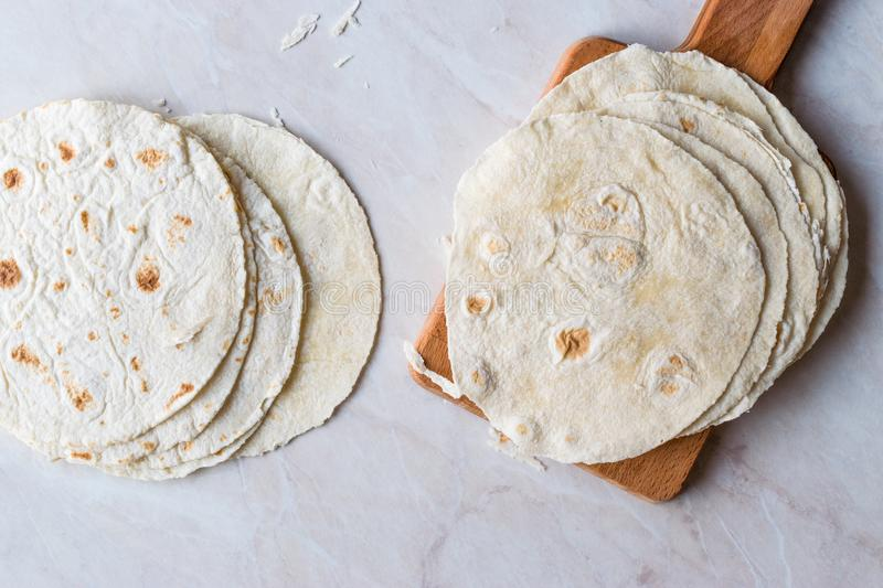 Homemade Mexican Tortillas for Tostada stock photography