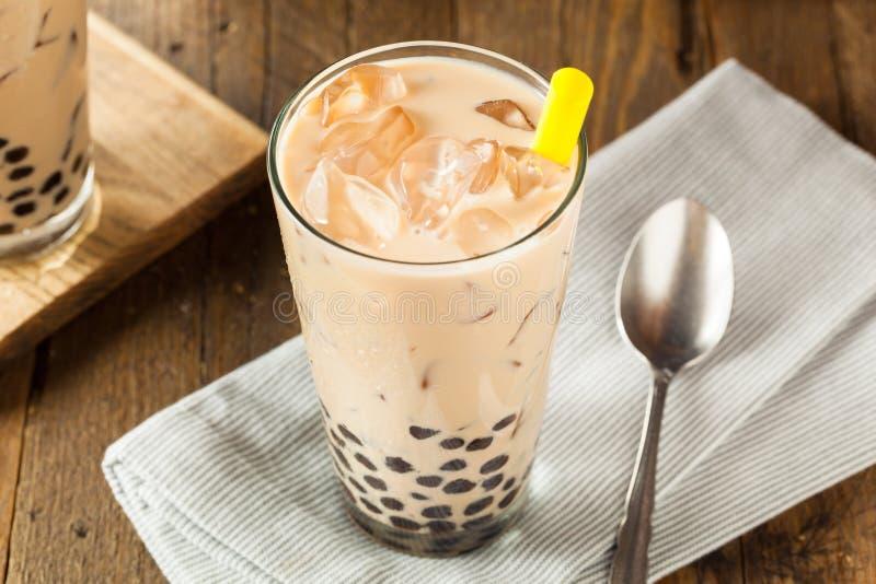 Homemade Milk Bubble Tea with Tapioca. Pearls stock photos
