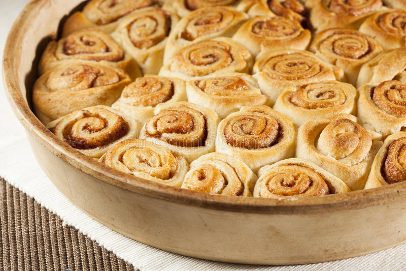 Homemade Mini Cinnamon Rolls. In a pan stock photos