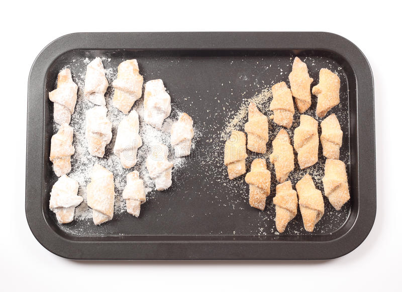 Homemade mini croissants stock images