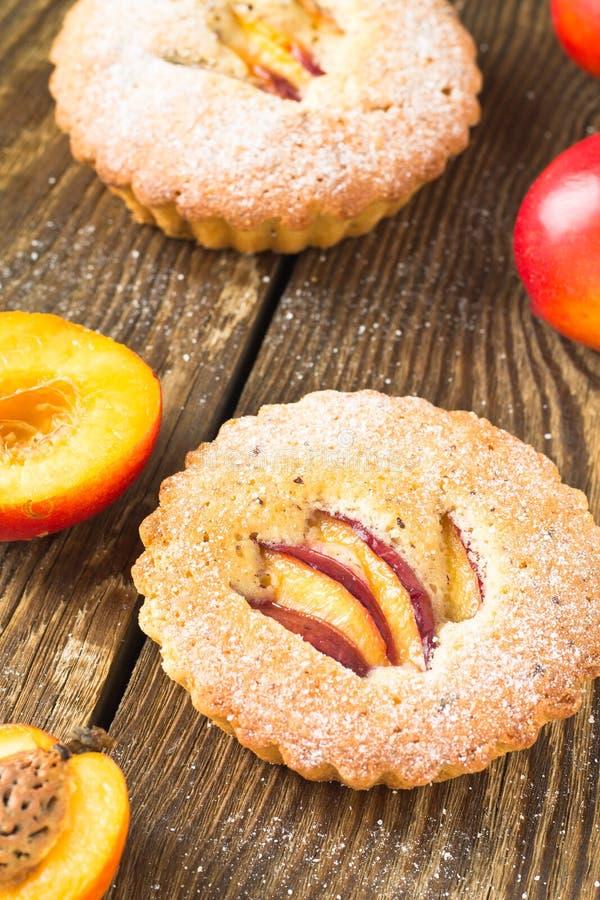 Homemade mini peach cake royalty free stock images