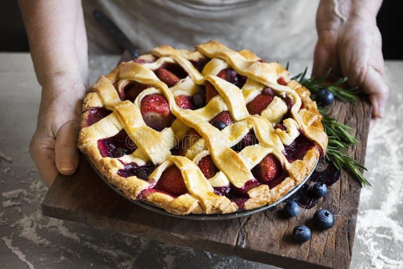 Homemade mixed berry pie food photography recipe idea royalty free stock image