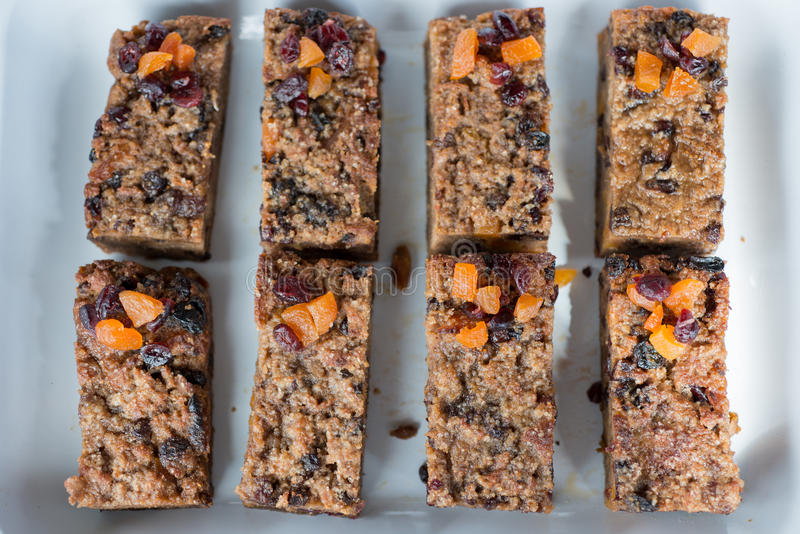 Homemade Muesli and Dried Fruit Granola Bars royalty free stock photography