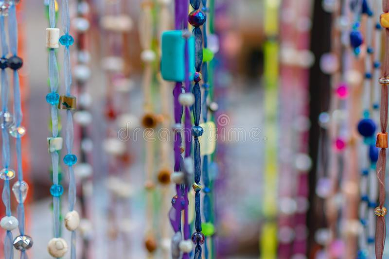 Homemade multi-colored beads. Abstract color background stock images