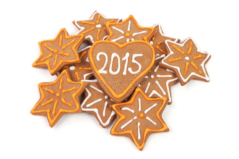 Homemade new year cookies - 2015 number. Homemade new year cookies with 2015 number. Isolated on white background royalty free stock image