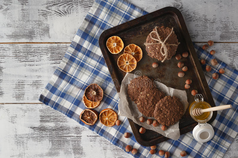 Homemade oat cookies on old tray royalty free stock image