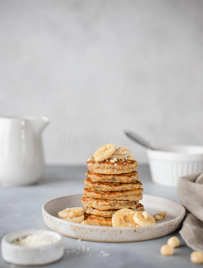 Free Homemade Oat Pancakes With Banana And Nuts Stock Image - 166204661