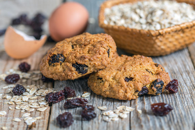 Homemade oatmeal cookies, eggs and raisins. royalty free stock image