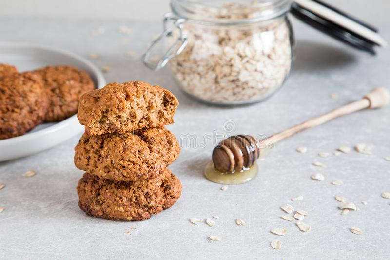 Homemade oatmeal cookies with honey. Healthy Food Snack Concept stock photos