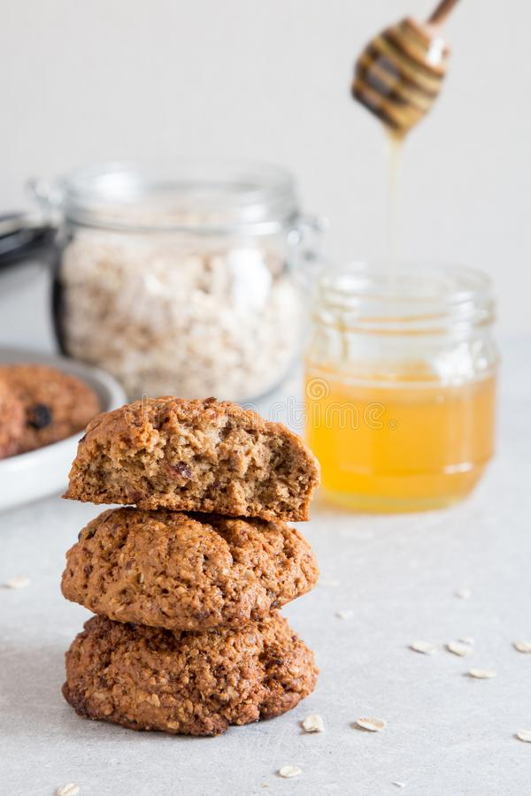 Homemade oatmeal cookies with honey. Healthy Food Snack Concept royalty free stock photo