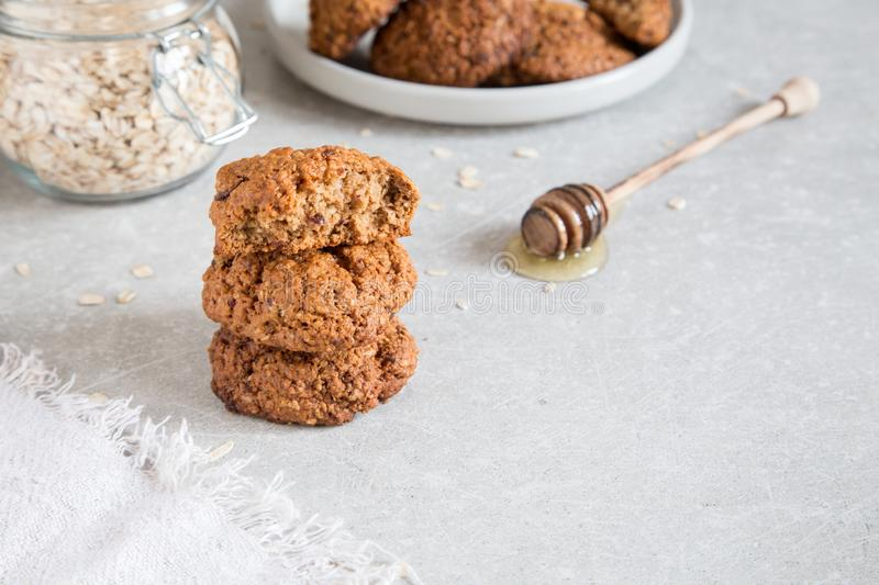 Homemade oatmeal cookies with honey. Healthy Food Snack Concept stock photography
