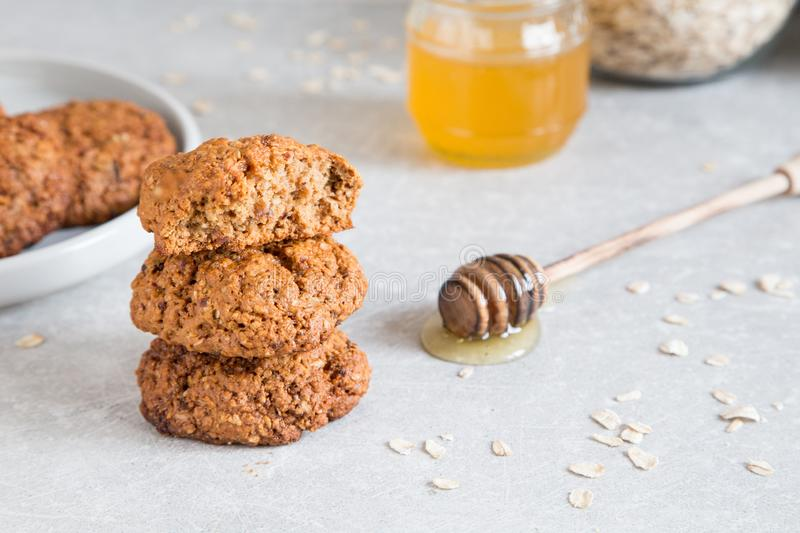 Homemade oatmeal cookies with honey. Healthy Food Snack Concept royalty free stock photography