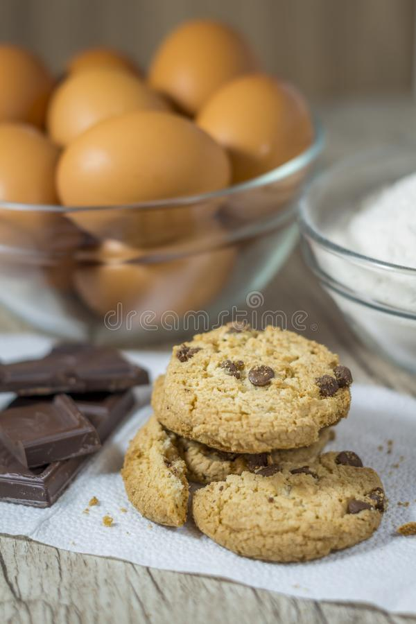 Homemade oatmeal cookies on wooden board. stock image