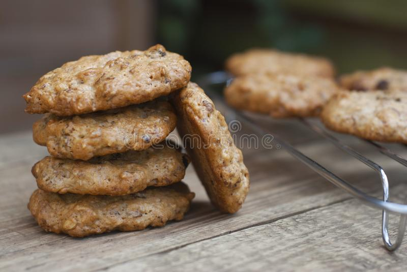 Homemade oatmeal cookies on wooden rustic board. Sweet dessert snack, Healthy Food. Copy space. royalty free stock photography