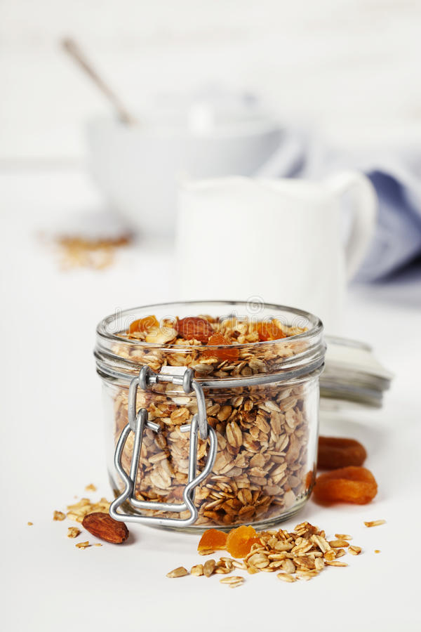 Free Homemade Oatmeal Granola With Fruits And Nuts Royalty Free Stock Photo - 94787345