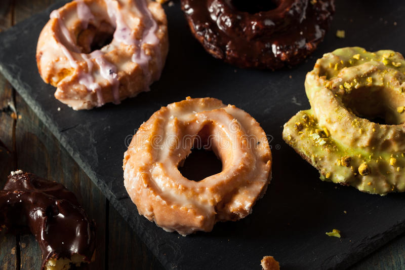 Homemade Old Fashioned Donuts. With Chocolate and Glaze stock photo