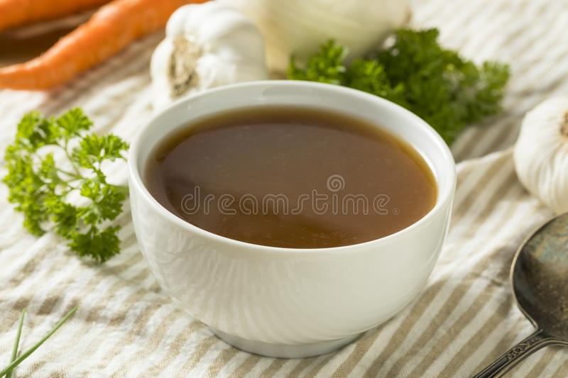 Homemade Organic Beef Bone Broth stock images