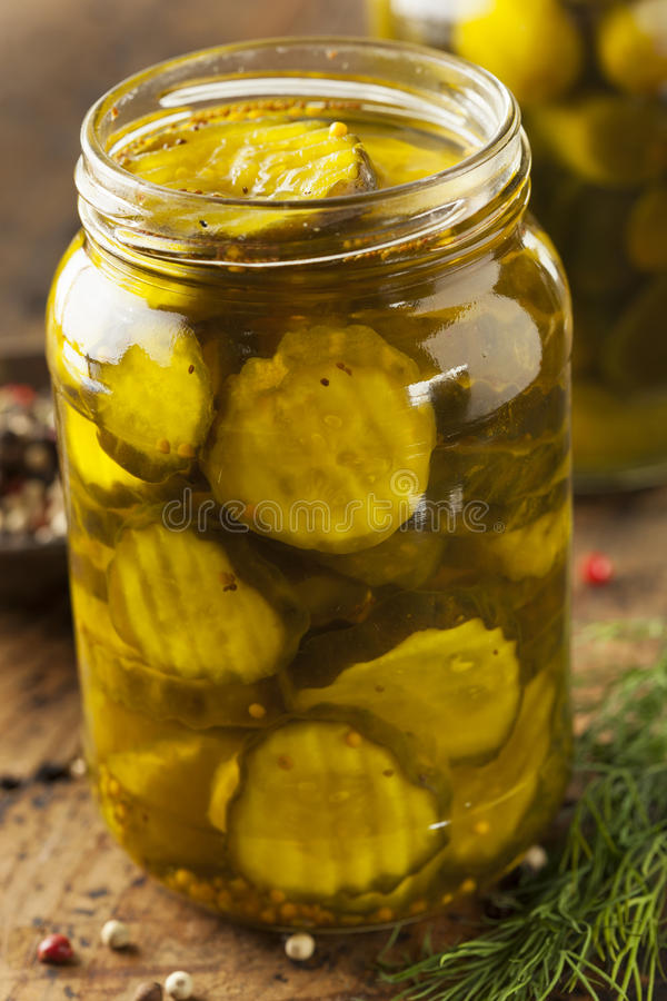 Homemade Organic Crunch Green Pickles Stock Photo