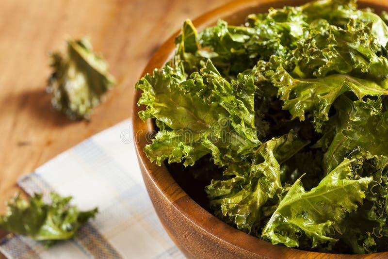 Homemade Organic Green Kale Chips royalty free stock image