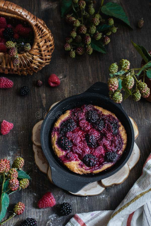 Homemade organic raspberry and blackberry pie, top view royalty free stock photos