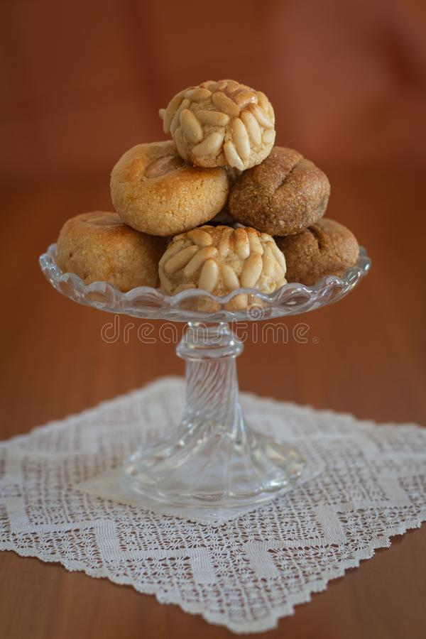 Homemade panellets All-Saints Catalan tradition stock photos