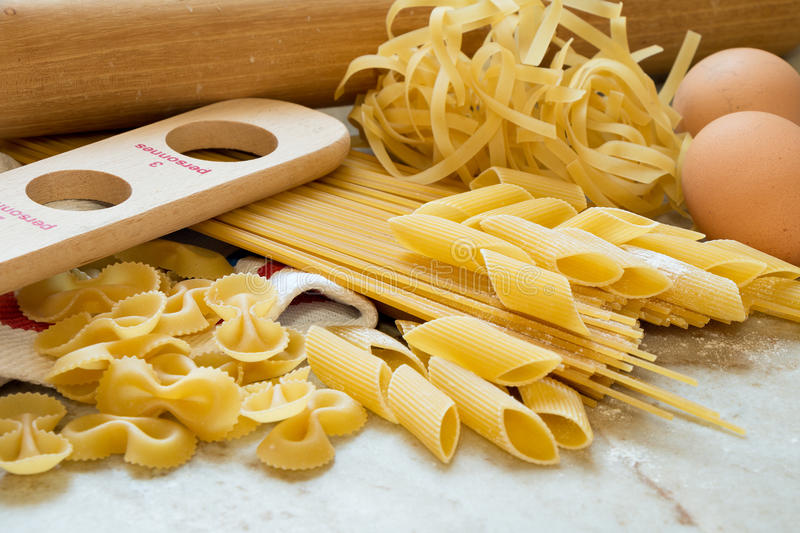 Homemade pasta. Ingredients for making pasta on the kitchen worktop royalty free stock image
