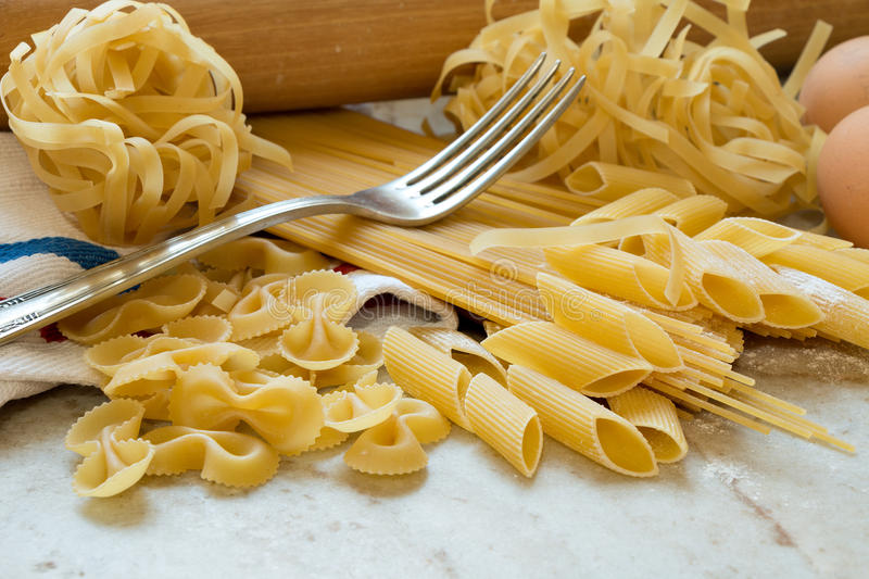 Homemade pasta. Ingredients for making pasta on the kitchen worktop stock photography