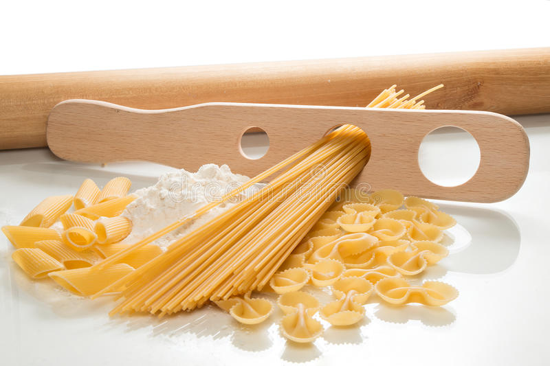 Homemade pasta. Ingredients for making pasta on the kitchen worktop royalty free stock photo