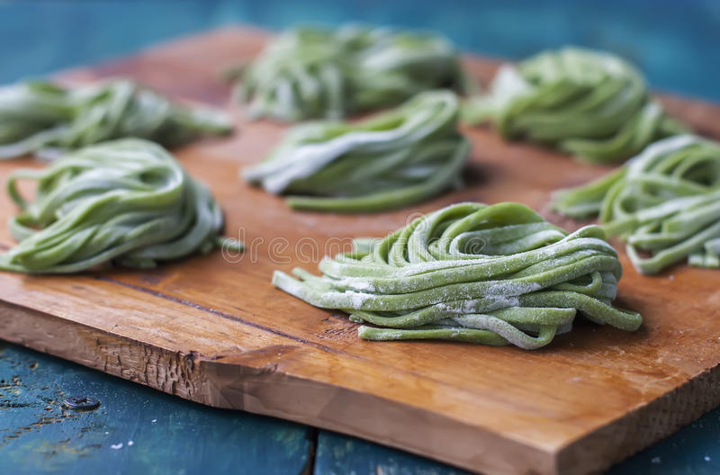 Homemade Pasta With Spinach. stock photo