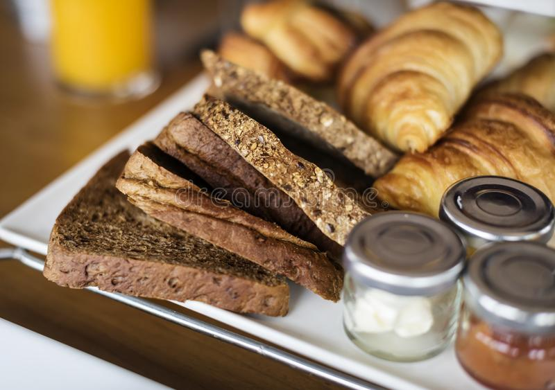 Homemade pastries at a hotel breakfast stock photography