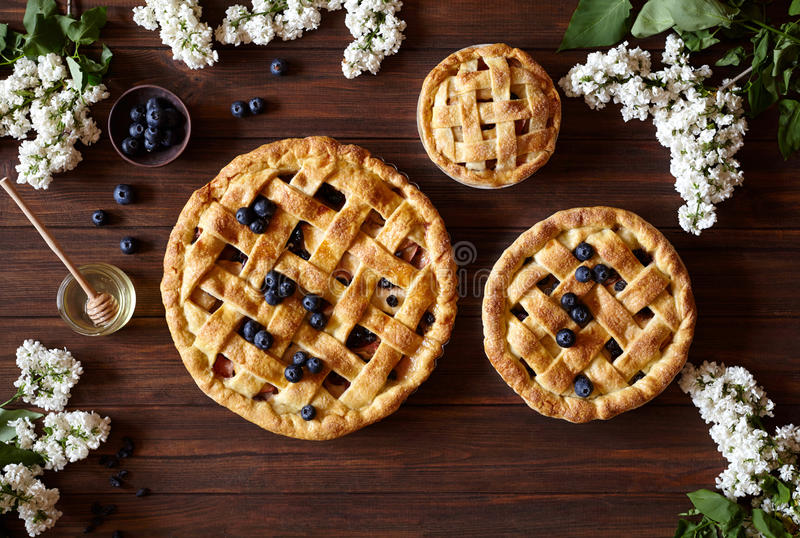 Homemade pastry apple pie bakery products on dark wooden kitchen table with raisins, honey and apples. Traditional. Homemade pastry apple pie pies bakery stock images