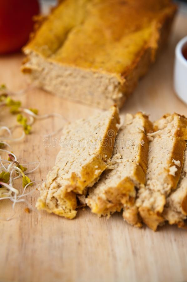 Homemade pate of chicken meat on wooden board royalty free stock photos