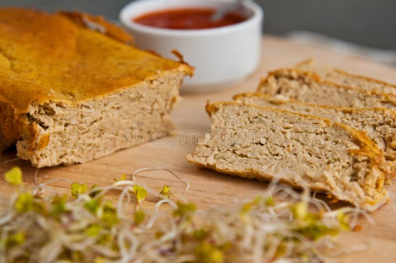 Homemade pate of chicken meat on wooden board royalty free stock image
