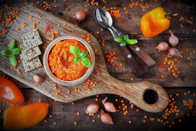 Homemade pate of red lentils royalty free stock images