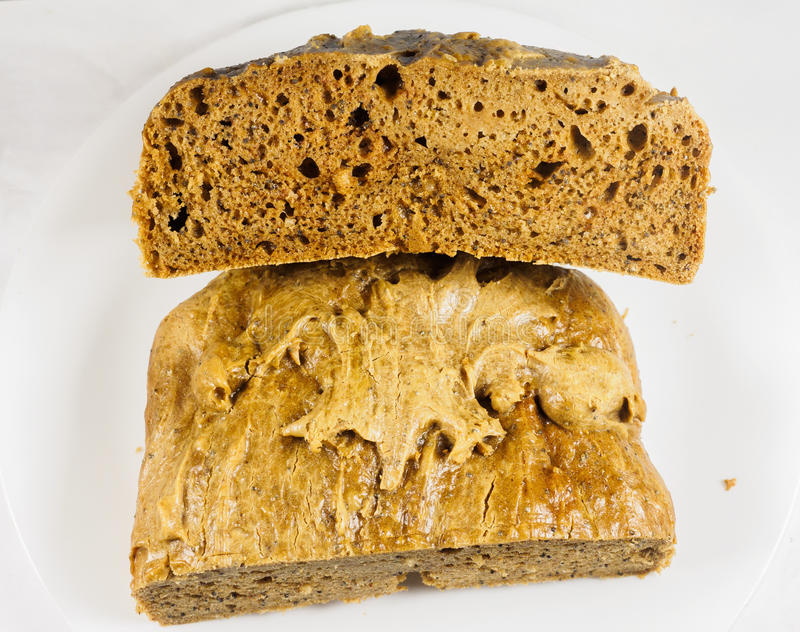 Homemade peanut butter bread. Homemade peanut butter low-carb bread for ketogenic diet stock photos