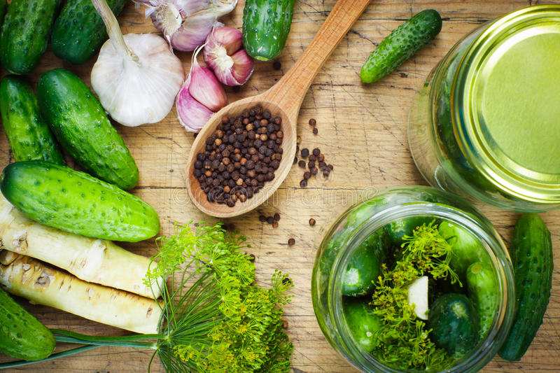 Homemade pickles royalty free stock photos