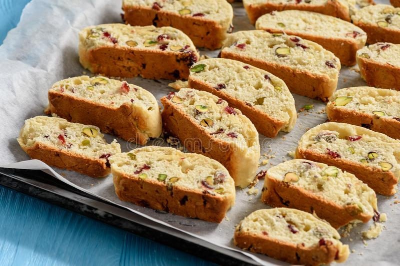 Homemade pistachio and cranberry biscotti. royalty free stock image
