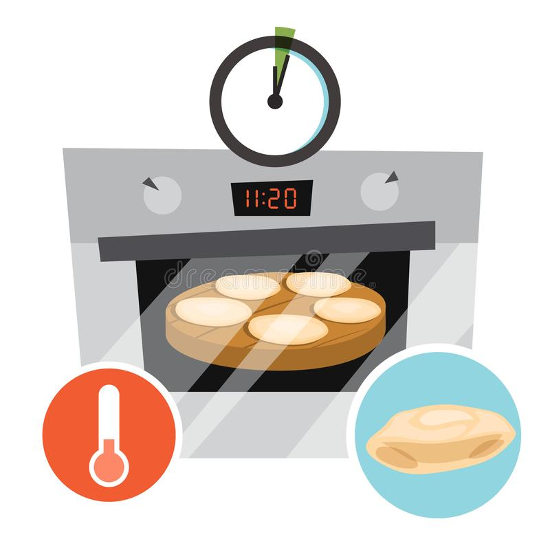 Homemade pita brood in ovenbereiding Kookbakkerij vector illustratie