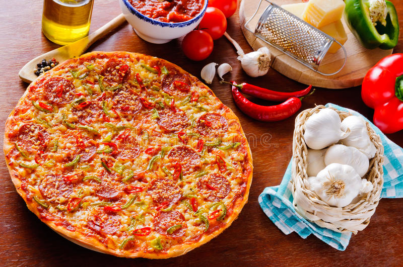 Download Homemade pizza stock photo. Image of chili, served, restaurant - 23164360