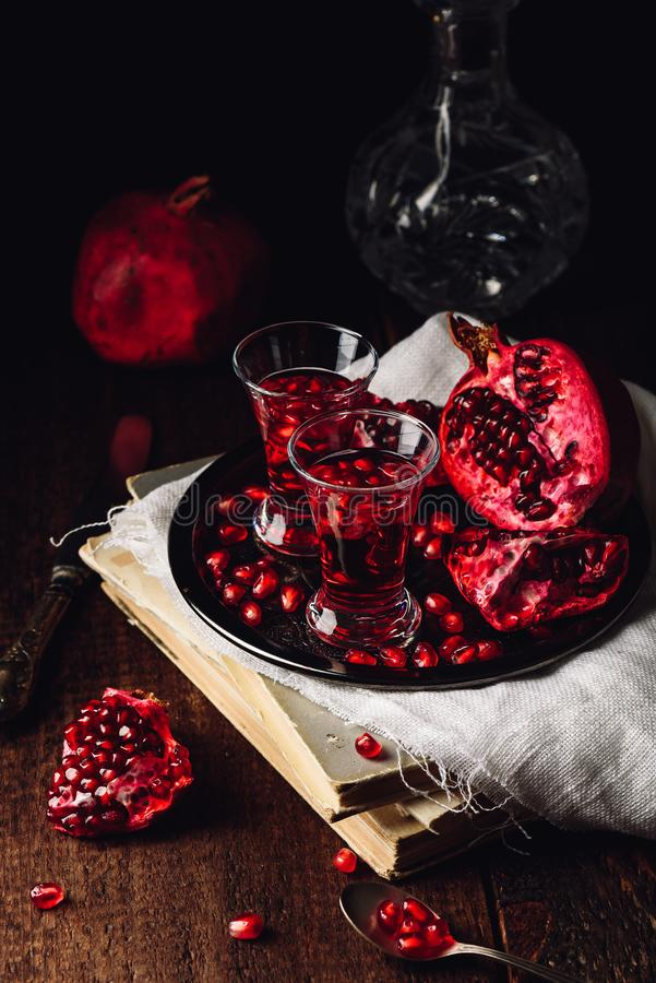 Homemade pomegranate liqueur stock photography