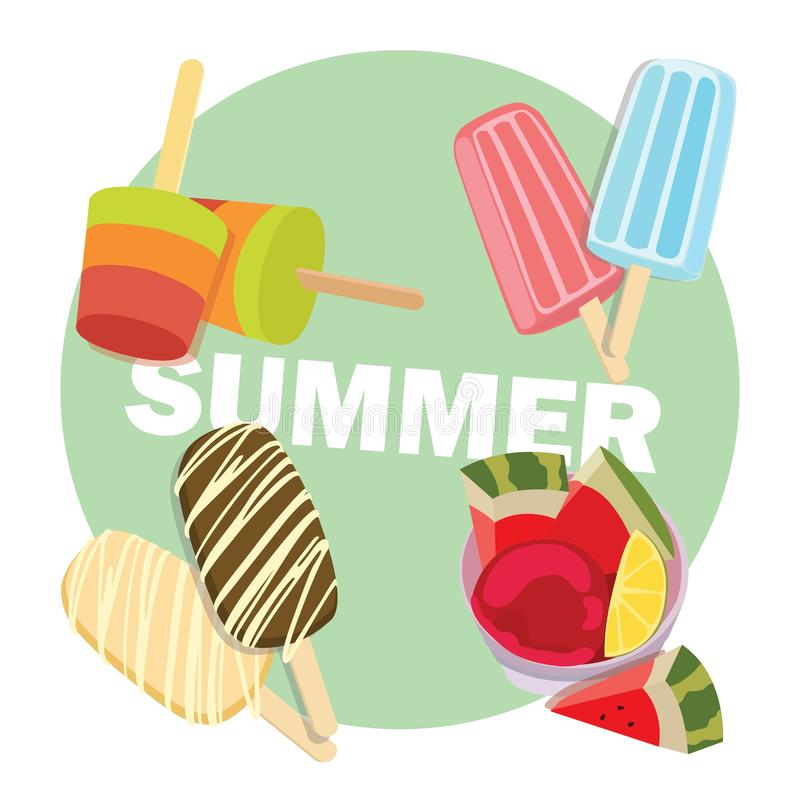 Homemade Popsicles: 4 Different Frozen Summer Treats royalty free illustration