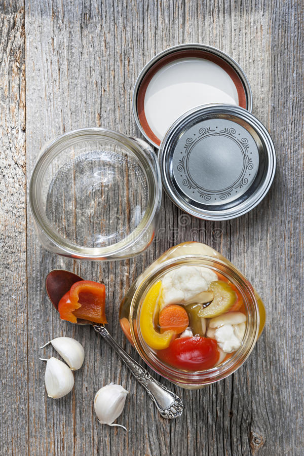 Homemade preserved vegetables stock photography