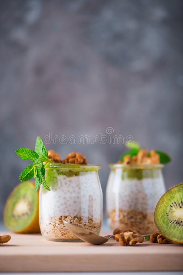 Homemade pudding of Chia seeds and almond milk with cereals and puree of kiwi with walnuts and mint in glass jars. Vegan healthy royalty free stock photos