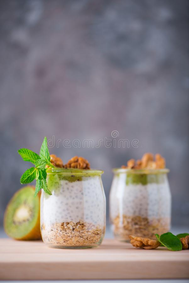 Homemade pudding of Chia seeds and almond milk with cereals and puree of kiwi with walnuts and mint in glass jars. Vegan healthy royalty free stock photo