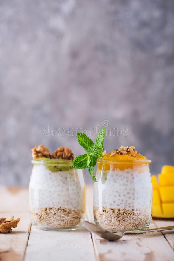 Homemade pudding of Chia seeds and almond milk with cereals and puree of mango and kiwi with walnuts and mint in glass jars. Vegan stock images