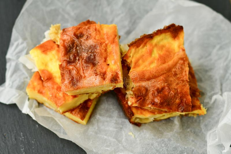 Cheese pie. Homemade puff cheese pie with filo pastry and organic free-range eggs stock photography