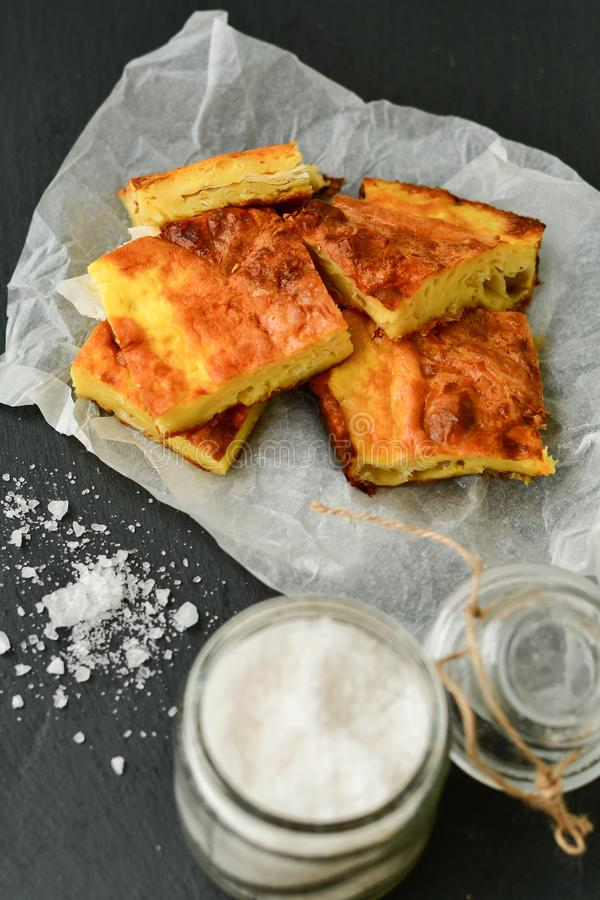Cheese pie. Homemade puff cheese pie with filo pastry and organic free-range eggs stock images